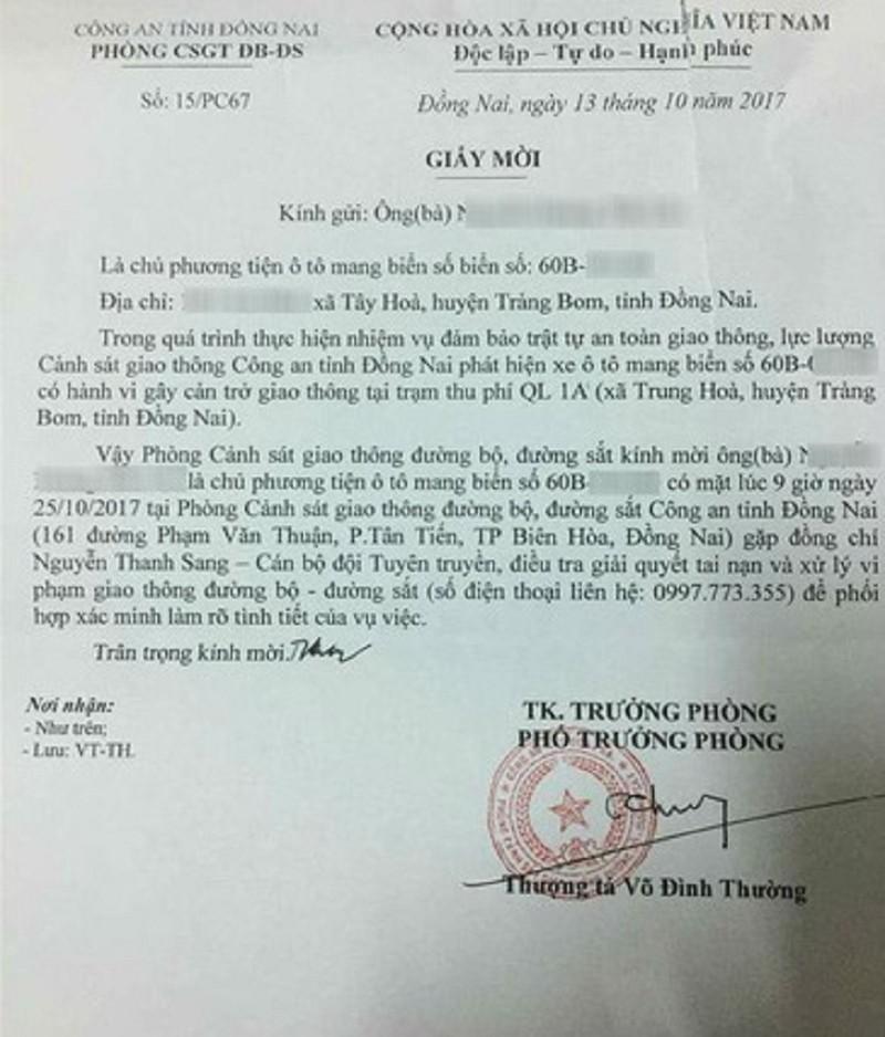 Bộ Công an yêu cầu báo cáo vụ phó Phòng CSGT Đồng Nai  - ảnh 1