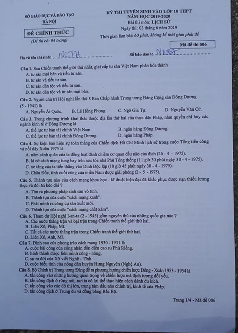 Đề thi Lịch sử tuyển sinh 10 Hà Nội: Dễ có mưa điểm 10! - ảnh 1