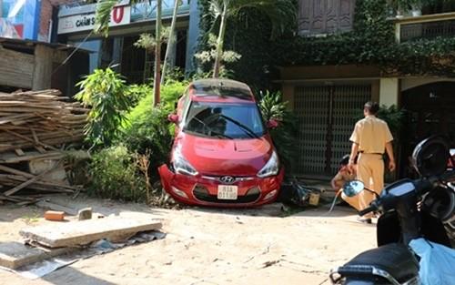 Lùi xe ô tô đổ rào, gây thương tích cho hàng xóm - ảnh 1