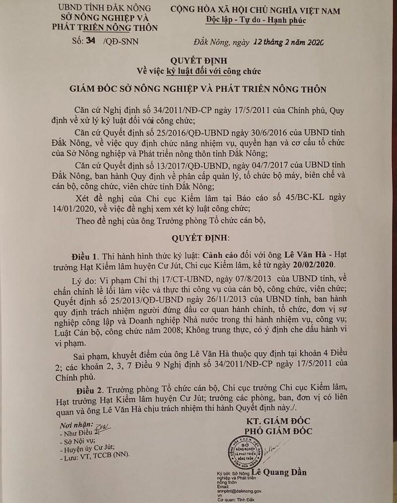 Cảnh cáo hạt trưởng kiểm lâm làm rách mũi đồng nghiệp - ảnh 1
