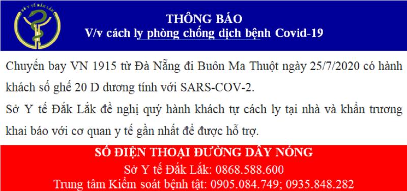 Thông báo khẩn liên quan chuyến bay từ Đà Nẵng về Đắk Lắk - ảnh 1