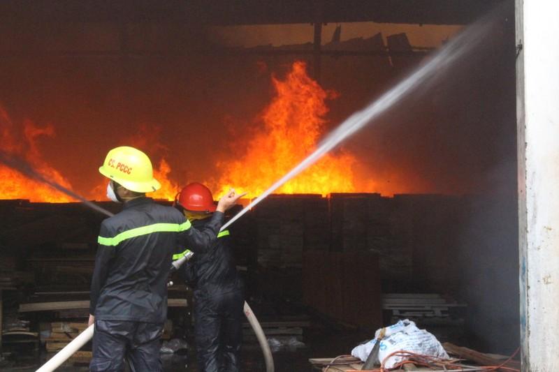 Đang cháy dữ dội công ty gỗ ở Bình Dương - ảnh 1
