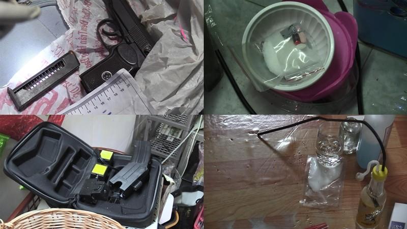 Khám xét ma túy 'lộ' ra súng K59, đạn, roi điện  - ảnh 2