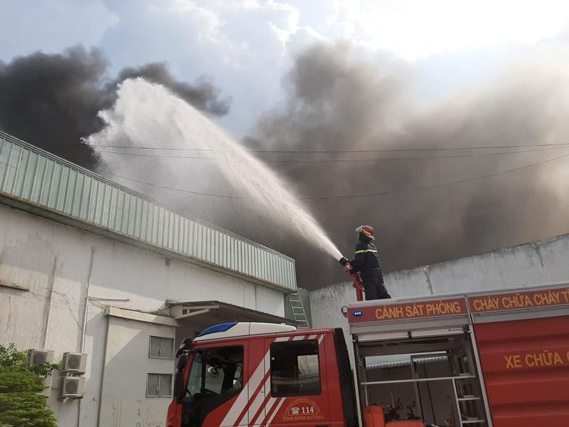 Công nhân chạy thoát thân trong đám cháy lớn tại Bình Dương - ảnh 1