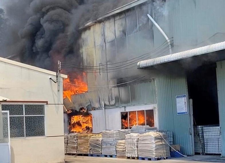1 công ty sản xuất đồ gốm ở Bình Dương bốc cháy dữ dội - ảnh 1