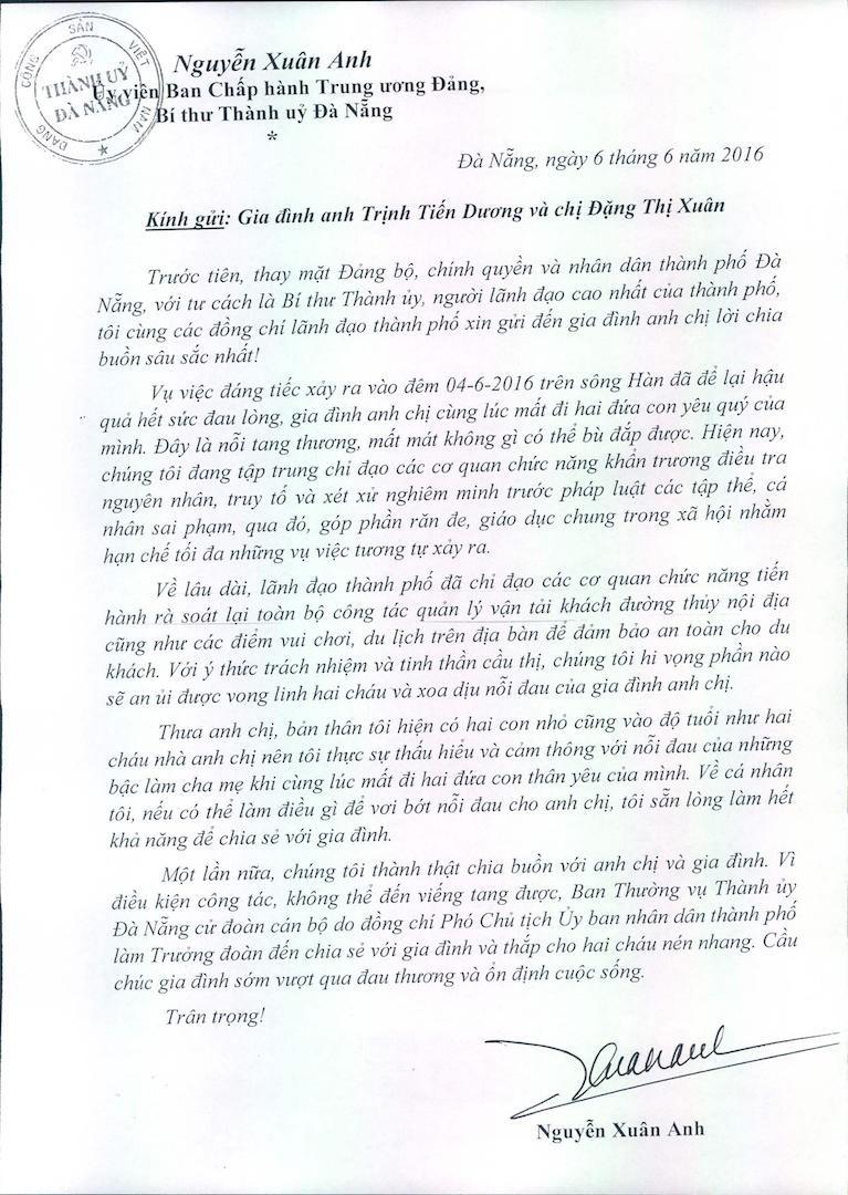 Bí thư Đà Nẵng gửi thư chia sẻ với gia đình nạn nhân vụ chìm tàu - ảnh 1