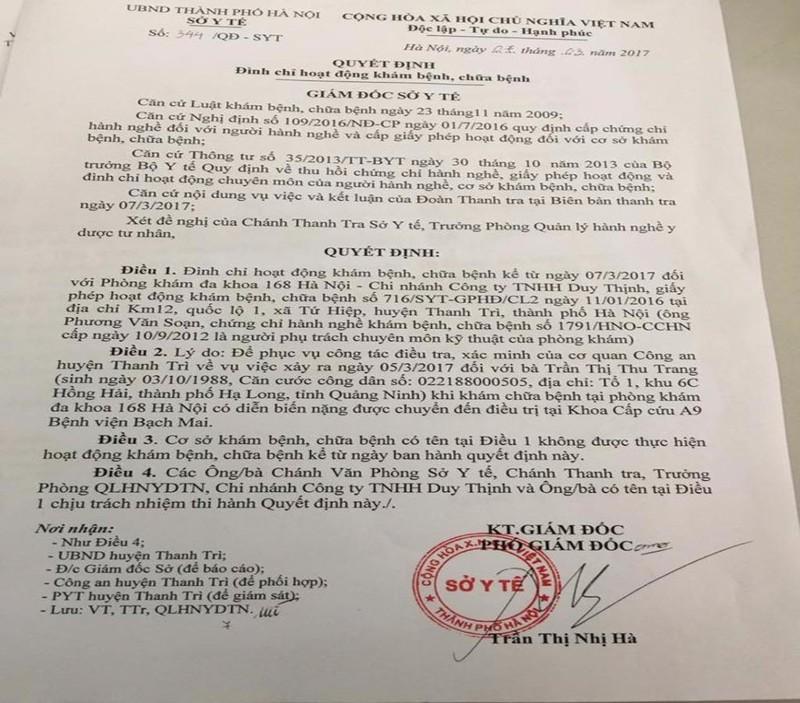 đình chỉ phòng khám 168 Hà Nội