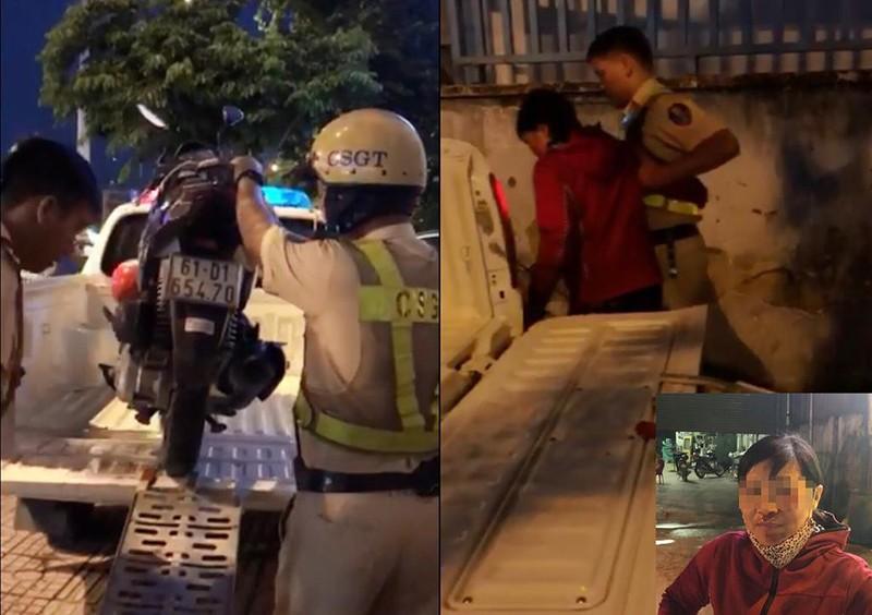 Xúc động người phụ nữ bị té, được CSGT 'hộ tống' về nhà - ảnh 1