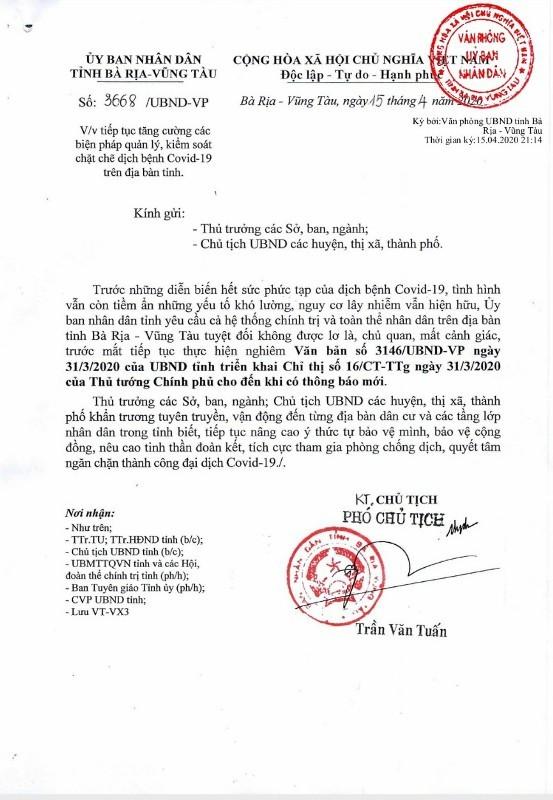 Bà Rịa- Vũng Tàu: Để an toàn vẫn thực hiện theo Chỉ thị 16 - ảnh 1