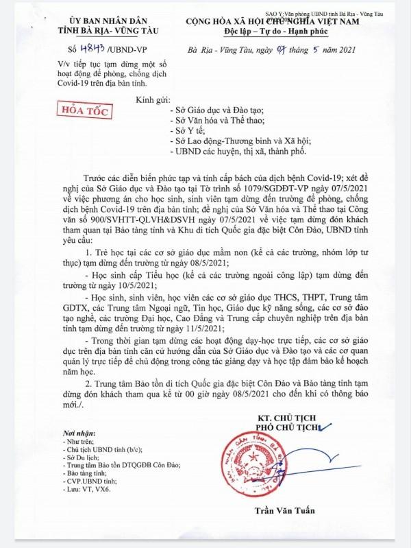 Bà Rịa- Vũng Tàu: Trẻ mầm non nghỉ học từ 8-5 để chống dịch - ảnh 1