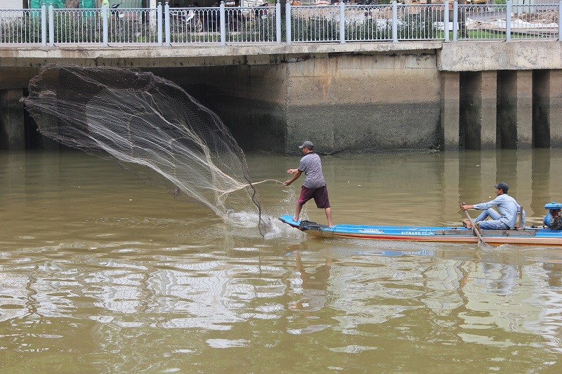 Ngang nhiên chài lưới bắt cá trên kênh Nhiêu Lộc - ảnh 1
