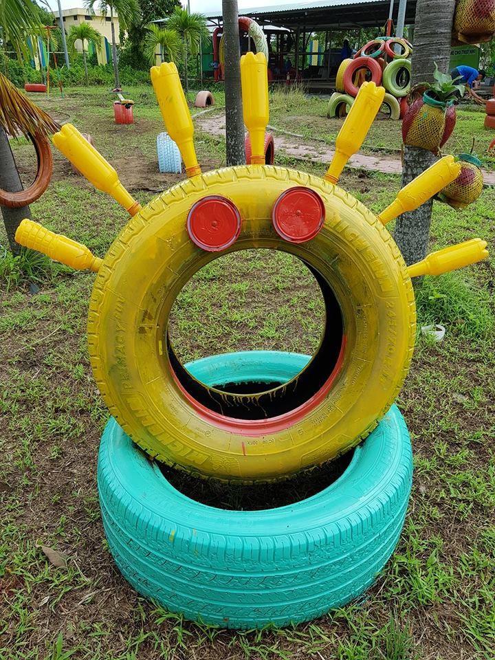 Cận cảnh sân chơi từ rác tái chế cho trẻ em ngoại thành - ảnh 4