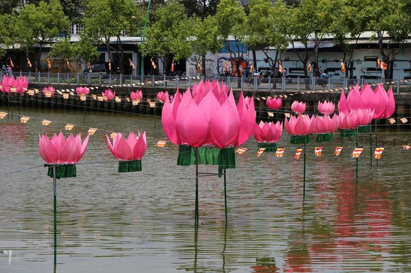 Ngắm hoa sen 7 màu 'mọc' trên kênh Nhiêu Lộc mừng Phật đản - ảnh 4
