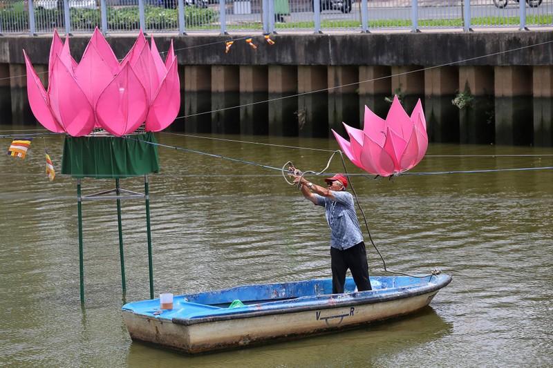 Ngắm hoa sen 7 màu 'mọc' trên kênh Nhiêu Lộc mừng Phật đản - ảnh 6