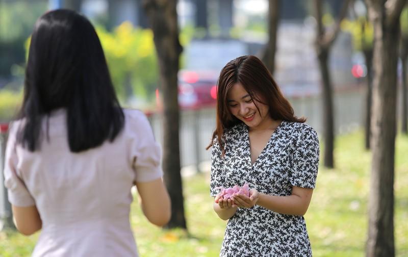 Kèn hồng nở sớm, giới trẻ đội nắng tìm chỗ check-in ở SG - ảnh 9