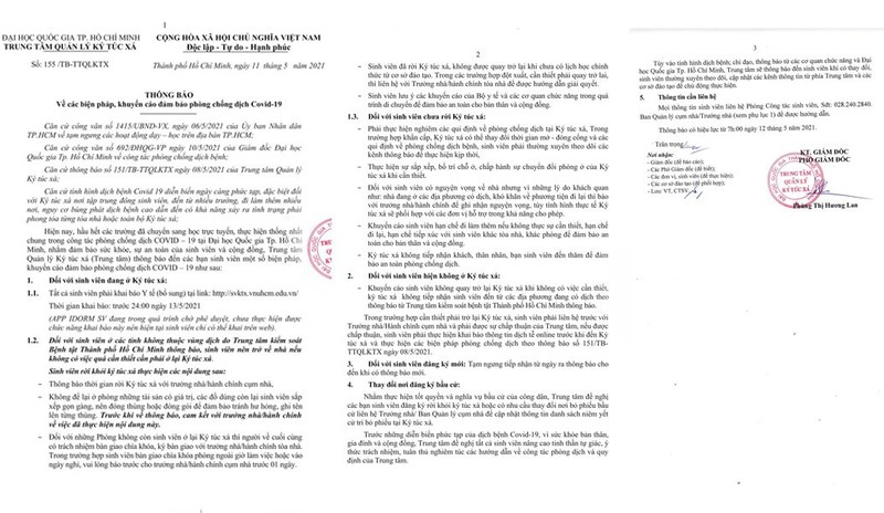 KTX ĐH Quốc gia TP.HCM khuyến khích sinh viên về quê - ảnh 1