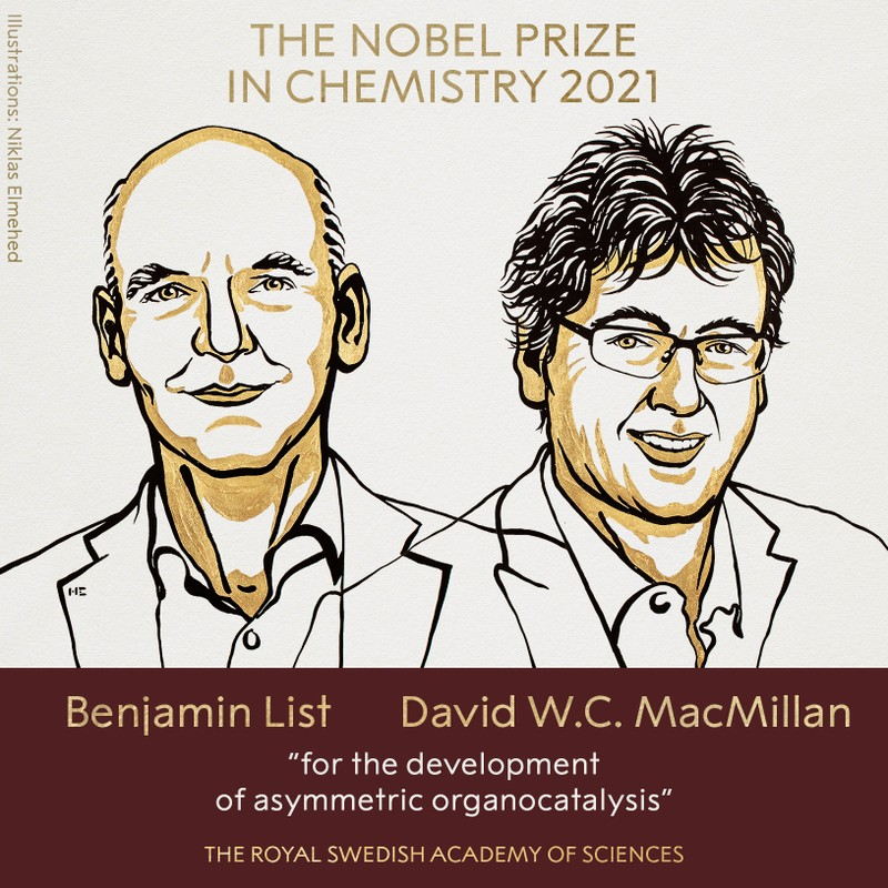 Nobel Hóa học 2021 vinh danh công trình nghiên cứu xúc tác hữu cơ bất đối xứng - ảnh 1