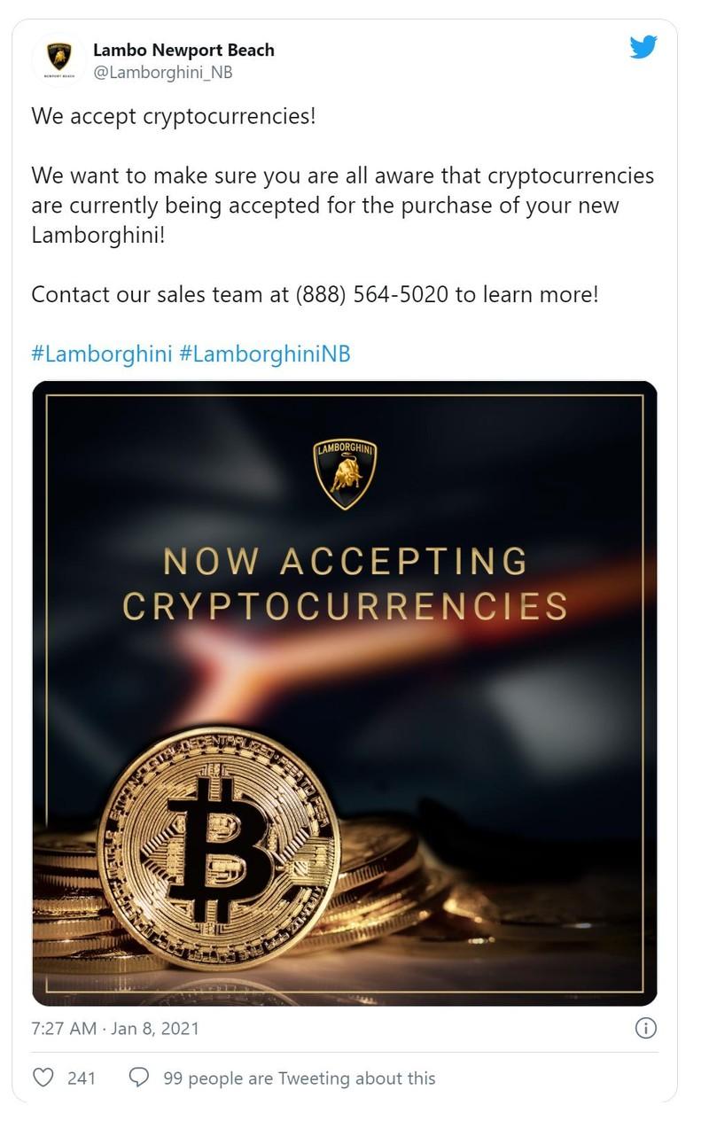 Đại lý xe Lamborghini bất ngờ cho nhận thanh toán bằng tiền ảo - ảnh 1