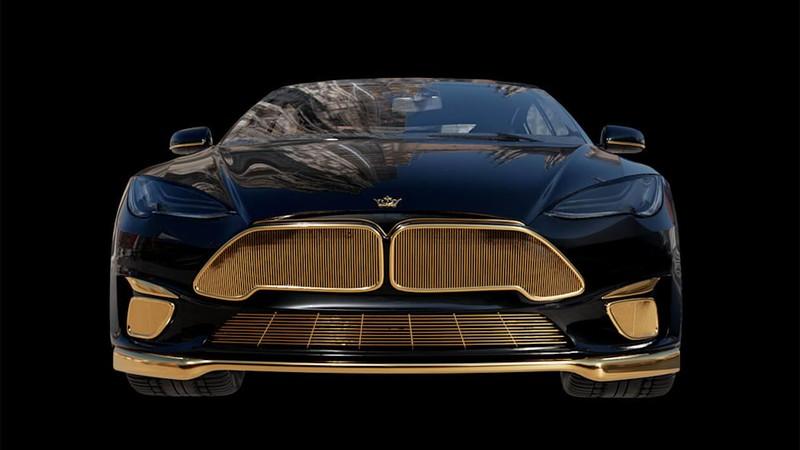 Chiêm ngưỡng xe Tesla đắt nhất thế giới được mạ vàng 24k - ảnh 2
