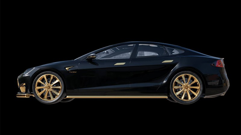 Chiêm ngưỡng xe Tesla đắt nhất thế giới được mạ vàng 24k - ảnh 1
