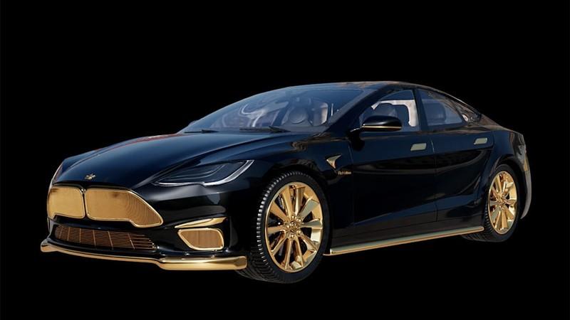 Chiêm ngưỡng xe Tesla đắt nhất thế giới được mạ vàng 24k - ảnh 4