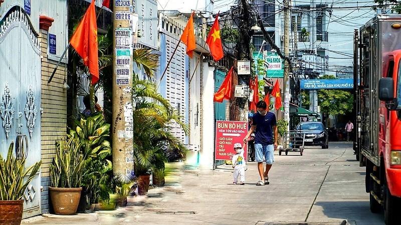 Nhiều đường ở TP.HCM rực rỡ cờ Tổ quốc mừng lễ Quốc khánh - ảnh 2