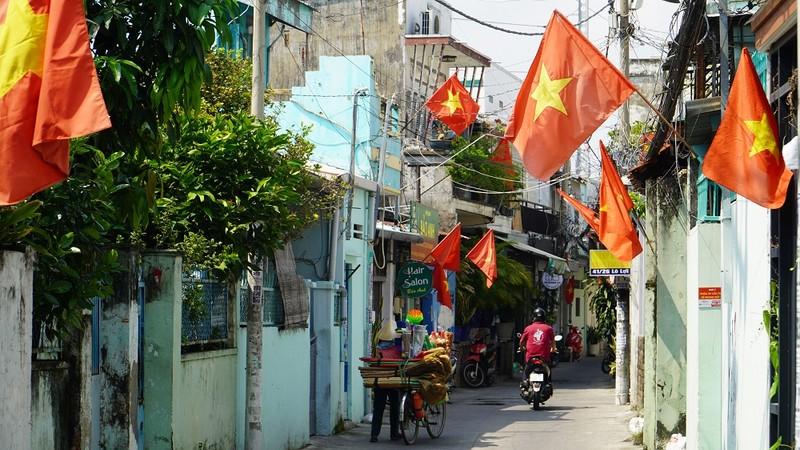 Nhiều đường ở TP.HCM rực rỡ cờ Tổ quốc mừng lễ Quốc khánh - ảnh 9