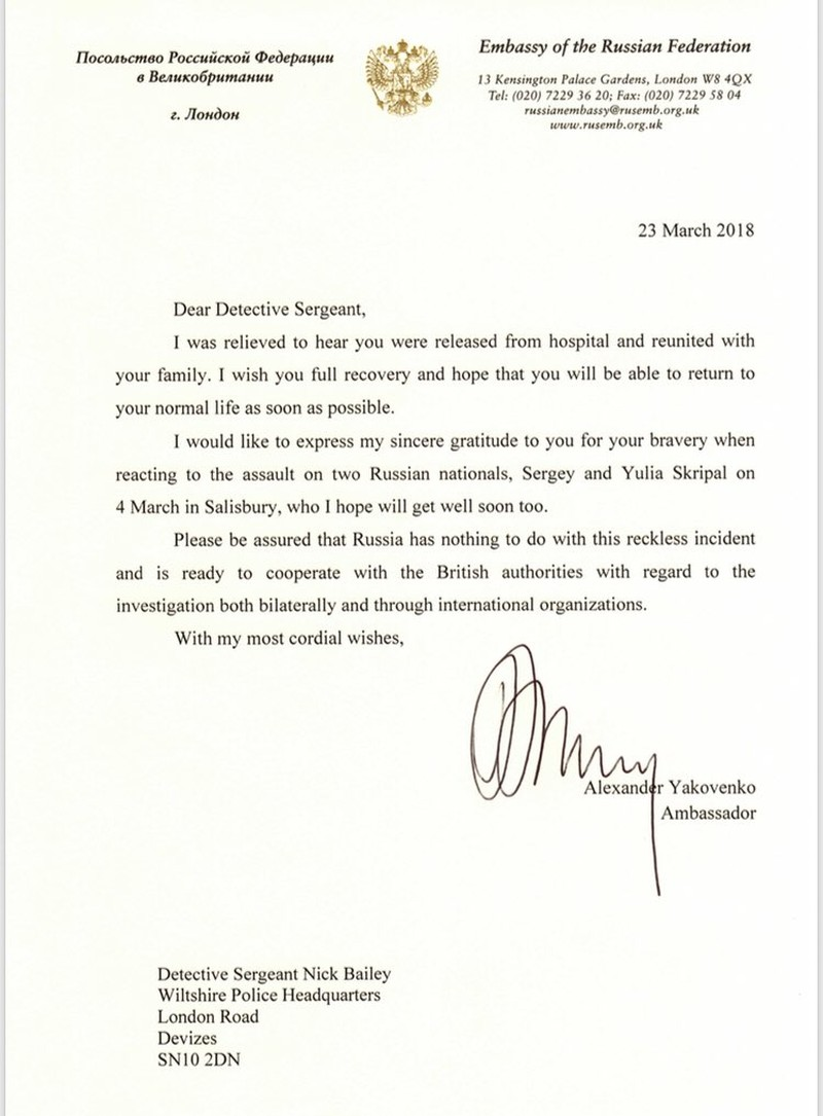 Đại sứ Nga viết thư gửi nạn nhân vụ đầu độc điệp viên  - ảnh 1