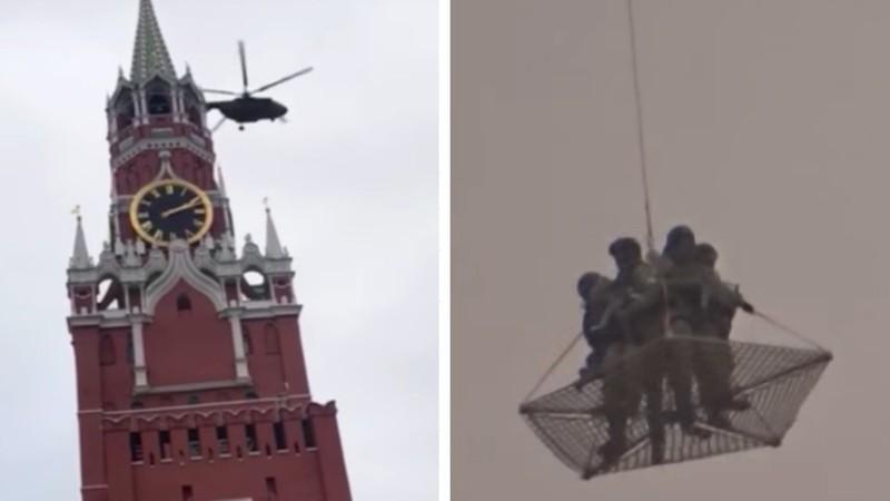 Trực thăng mang theo kiện hàng bí ẩn bay qua Điện Kremlin - ảnh 1