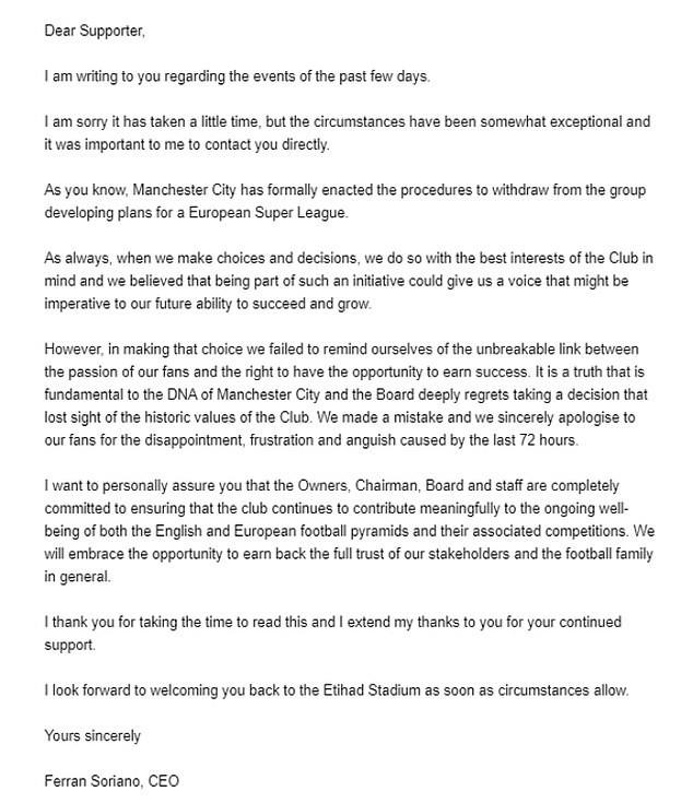 Sắp vô địch, lãnh đạo Man. City gửi mail xin lỗi CĐV - ảnh 2