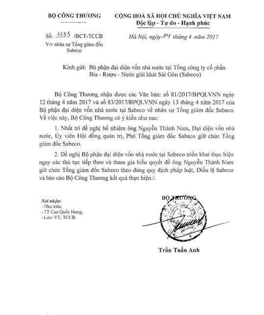 Lùm xùm nhân sự bia Sài Gòn: Bộ Công thương nói gì? - ảnh 1