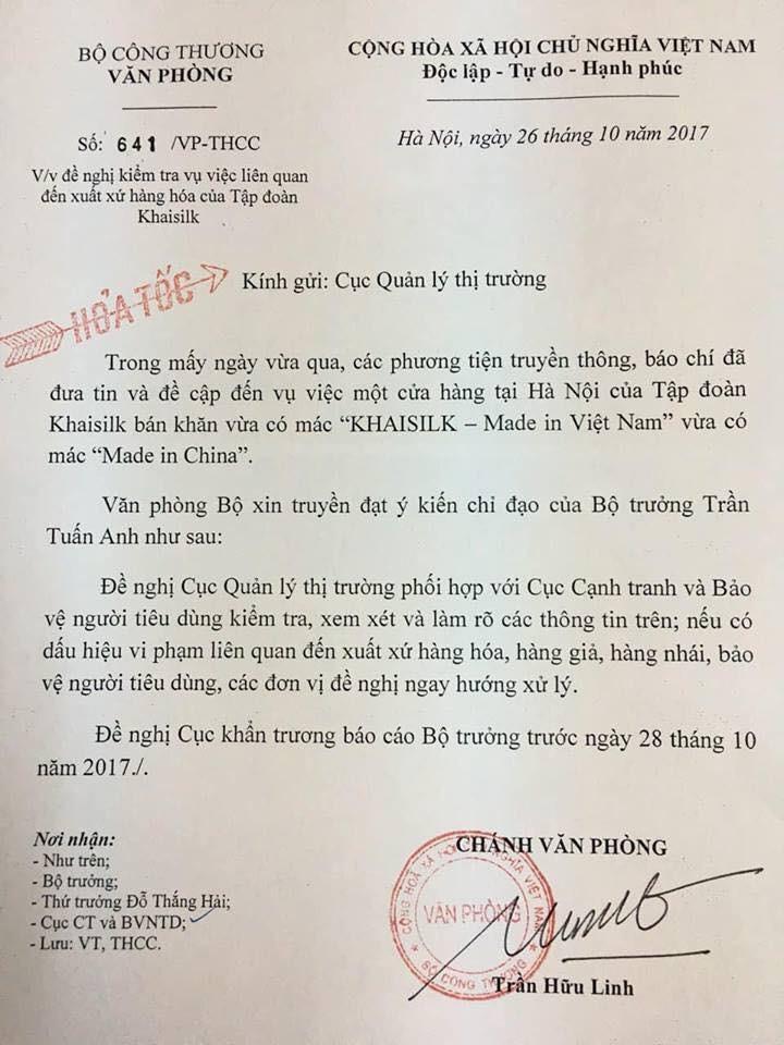Bộ trưởng Công Thương yêu cầu báo cáo vụ Khaisilk - ảnh 1