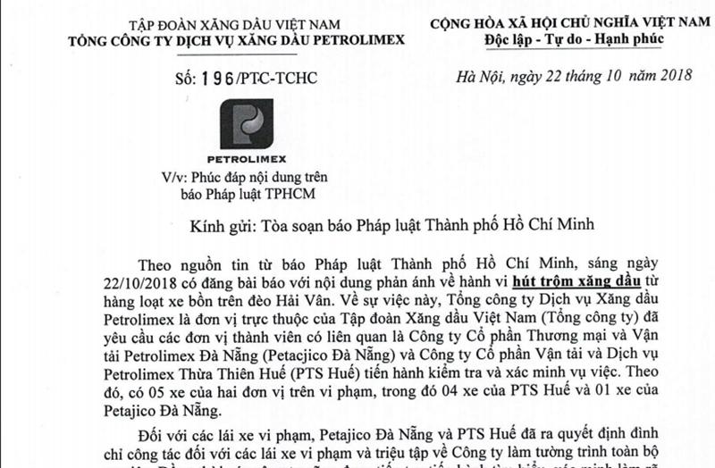 Petrolimex thông tin việc rút ruột xăng dầu xuyên đèo Hải Vân - ảnh 1