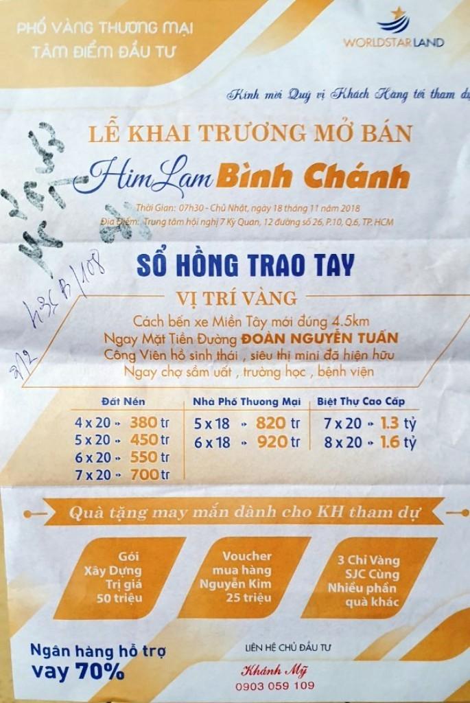 """Cảnh báo mạo danh mở bán dự án """"Him Lam Bình Chánh"""" - ảnh 1"""