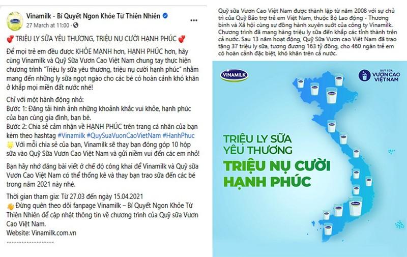 """Vinamilk với chiến dịch online """"Triệu ly sữa yêu thương"""" - ảnh 1"""