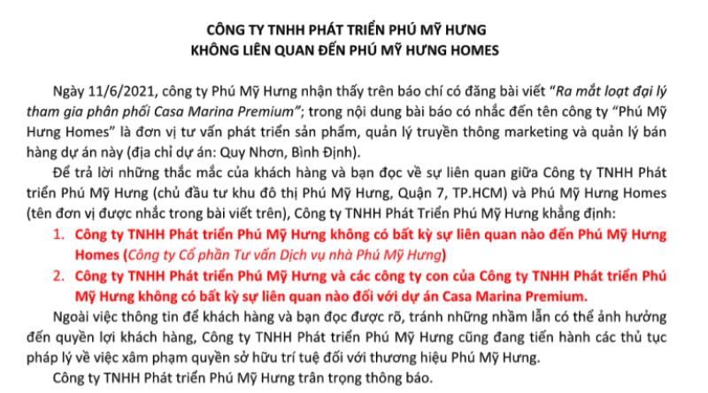 Công ty Phú Mỹ Hưng không liên quan đến Phú Mỹ Hưng Homes - ảnh 1