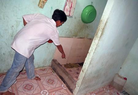 Nhà tắm nơi phát hiện chị Bé tử vong