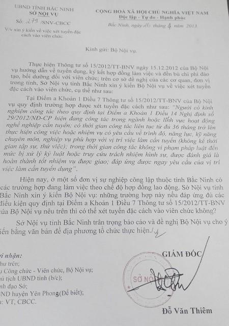 Công văn xin ý kiến chỉ đạo của Bộ Nội vụ nhưng chưa được trả lời