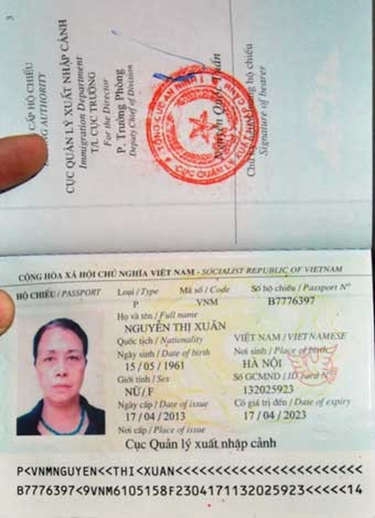 Tấm hộ chiếu sang Ma-rốc của bà Xuân.