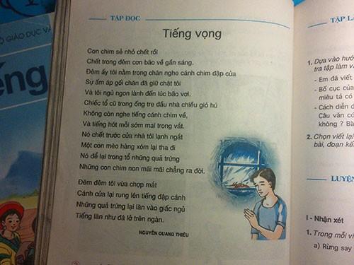 Bài thơ Tiếng vọng của Nguyễn Quang Thiều in trong sách giáo khoa Tiếng Việt lớp 5 nhưng tác giả không hề hay biết