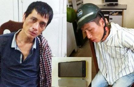 2 tên cướp bị khống chế bắt giữ dẫn giải về trụ sở CA.