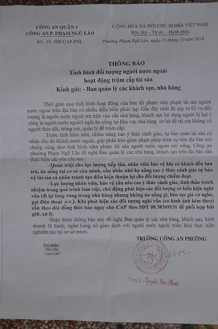 Nội dung tuyên truyền công an quận 1 gửi đến các nhà hàng, khách sạn trên địa bàn quận