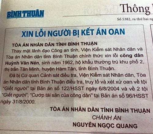 Đăng báo 'xin lỗi' ông Huỳnh Văn Nén       - ảnh 1