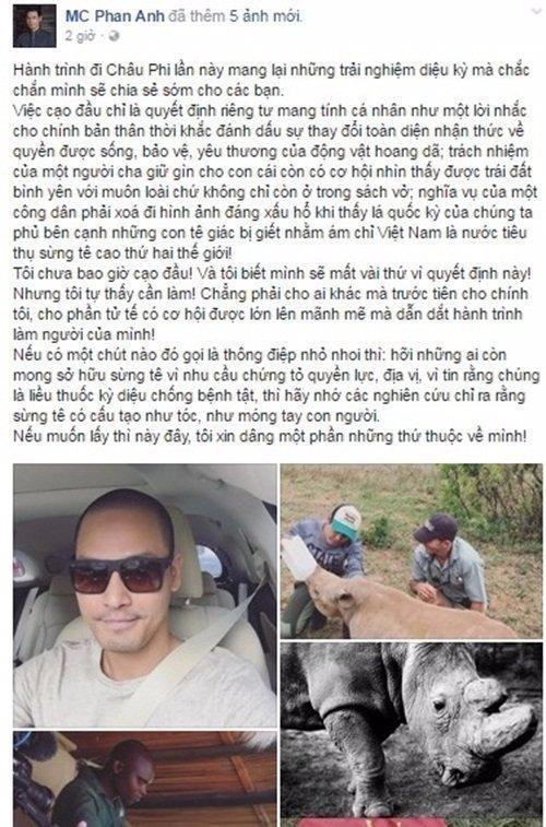 Hình ảnh MC Phan Anh chia sẻ trên trang cá nhân. Ảnh VIETNAMNET