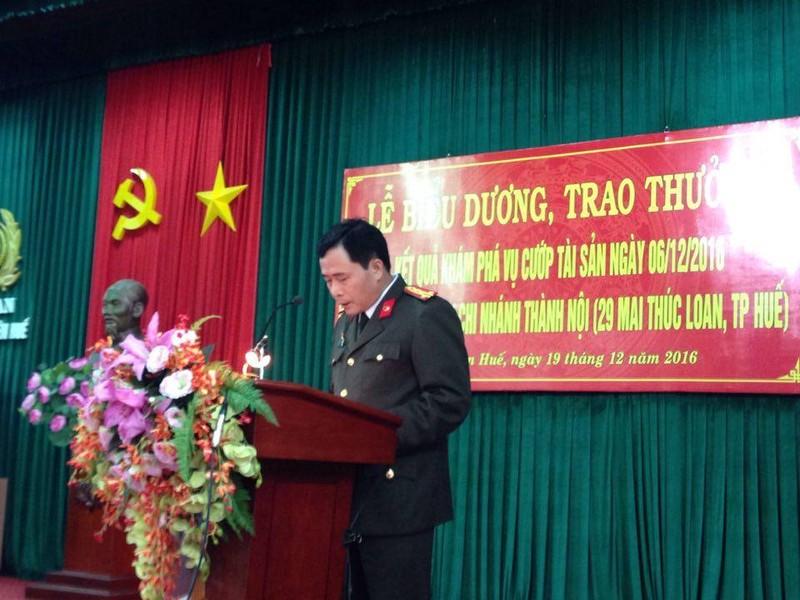 Vụ cướp Ngân hàng BIDV ở Huế:Khen thưởng ban chuyên án  - ảnh 2
