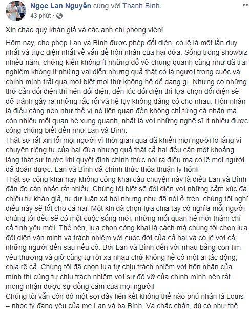 Diễn viên Ngọc Lan và Thanh Bình chính thức ly hôn - ảnh 1