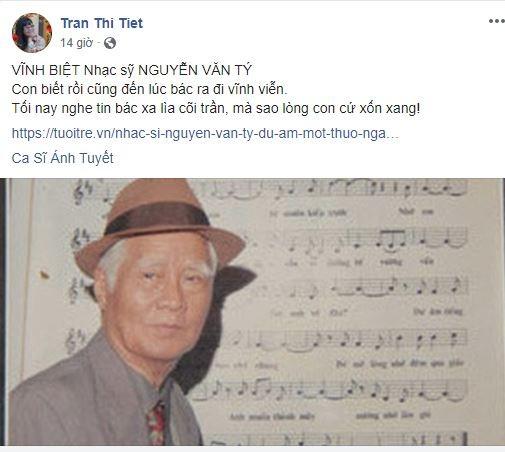 Cộng đồng mạng tiếc nuối sự ra đi của nhạc sĩ Nguyễn Văn Tý - ảnh 5