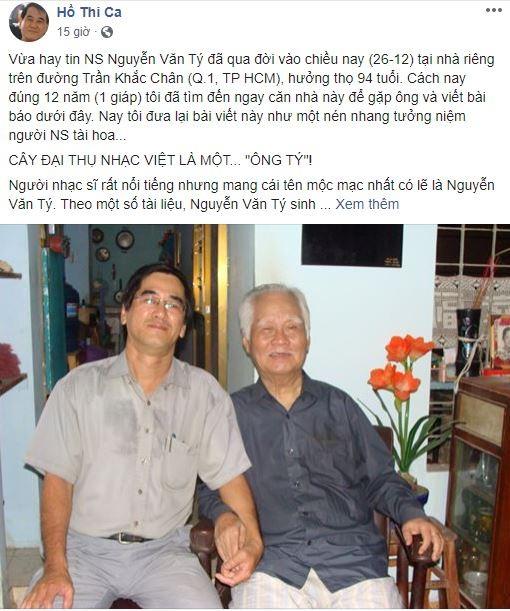Cộng đồng mạng tiếc nuối sự ra đi của nhạc sĩ Nguyễn Văn Tý - ảnh 3