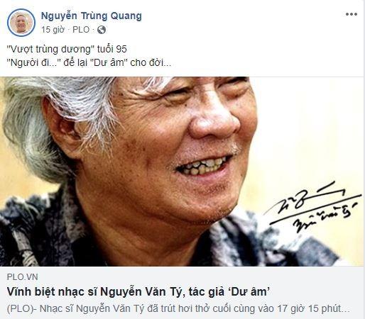 Cộng đồng mạng tiếc nuối sự ra đi của nhạc sĩ Nguyễn Văn Tý - ảnh 8