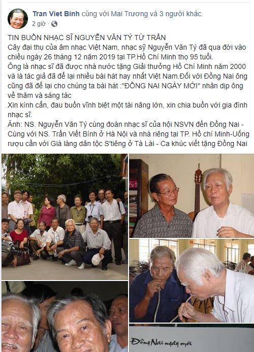 Cộng đồng mạng tiếc nuối sự ra đi của nhạc sĩ Nguyễn Văn Tý - ảnh 10